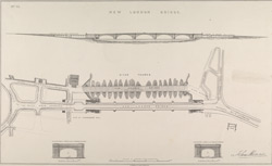 [Plans of Old and New London Bridge and an elevation of New London Bridge]